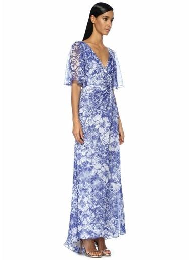Tadashi Shoji Petunia Çiçekli Yırtmaçlı Maksi Şifon Elbise Mavi